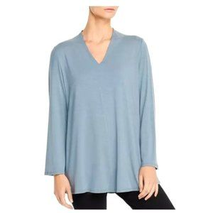 NWT Eileen Fisher Tencel Jersey V-Neck Top in Blue